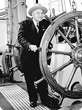 Harry Truman aboard The Eagle, a three-masted sailing barque.