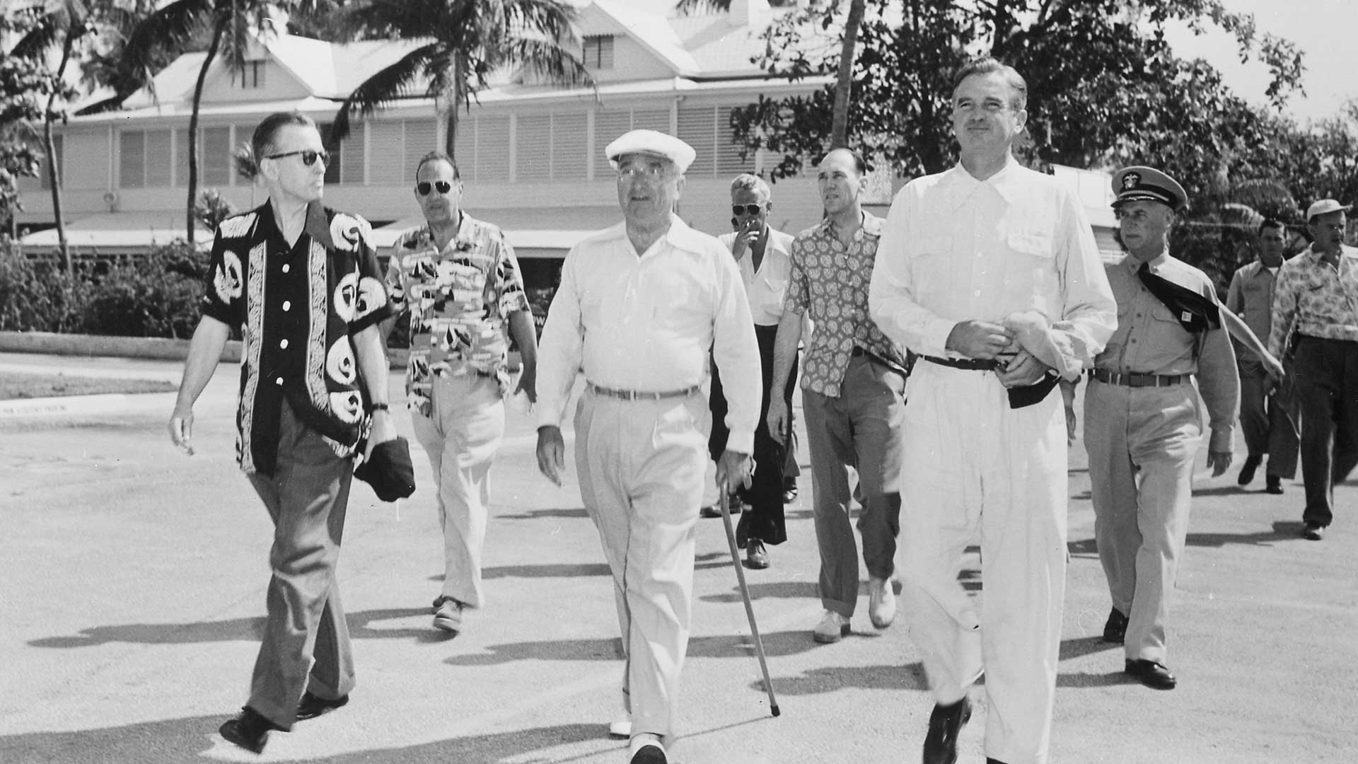 Harry S Truman taking his morning walk with friends through Key West