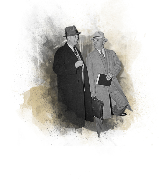 Vice President Harry S. Truman walking with President FDR
