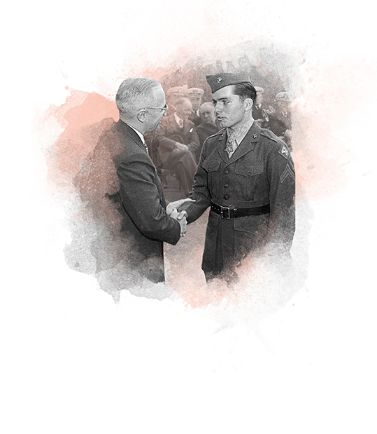 Truman receiving medal of honor on Victory in Europe Day